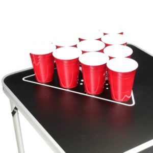 Black Beer Pong Table setup for beer pong game