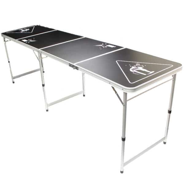 Long Shot of Black Beer Pong Table