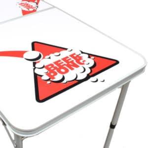 White Beer Pong Table - Side Angle
